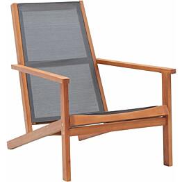 Puutarhan nojatuoli, harmaa, eukalyptuspuu ja textilene