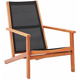 Puutarhan nojatuoli, musta, eukalyptuspuu ja textilene