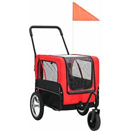 Lemmikkikärry pyörään/juoksurattaat, 97x56x135cm, punainen/musta