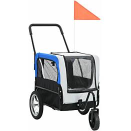 Lemmikkikärry pyörään/juoksurattaat, 97x56x135cm, harmaa/sininen