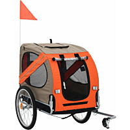 Koirankuljetuskärry polkupyörään, 90x73x137cm, ruskea/oranssi