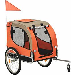 Koirankuljetuskärry polkupyörään, 90x73x137cm, oranssi/ruskea