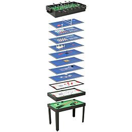 Monen pelin pöytä 15-in-1, 121x61x82cm, musta