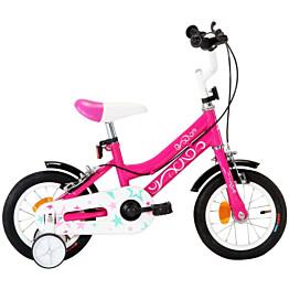 """Lasten pyörä 12"""" musta/pinkki"""