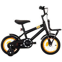"""Lasten pyörä etutarakalla 12"""" musta/oranssi"""