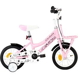 """Lasten pyörä etutarakalla 12"""" valkoinen/pinkki"""