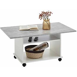 Fmd sohvapöytä pyörillä betoninharmaa ja valkoinen_1