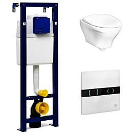 Seinä-WC-paketti Gustavsberg Estetic 8330 Triomont XS -asennusteline + kosketusvapaa painike valkoinen