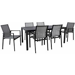 Ruokailuryhmä Home4you Amalfi, pöytä + 6 tuolia, musta