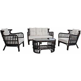 Oleskeluryhmä Home4you Hampton, sohva + 2 tuolia + pöytä, ruskea/valkoinen