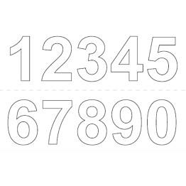 Numerosetti 0-9 Habo 50mm 2kpl valkoinen