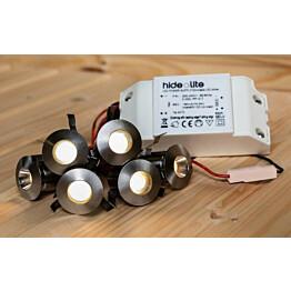 LED-saunavalaisinsetti Hide-a-lite Heatspot G2 2700K teräs