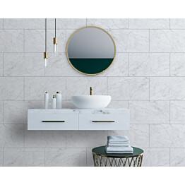 Sisustuslevy Innovera Décor Tongue&Groove Carrara Marble 5x400x620 mm PVC valkoinen