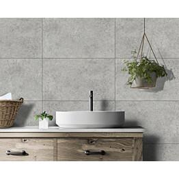 Sisustuslevy Innovera Décor Tongue&Groove Urban Cement Light Grey 5x400x620 mm PVC vaaleanharmaa