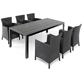 Ruokapöytä Tunis 205cm 6-istuttava musta