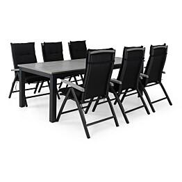 Ruokailuryhmä Monaco 6 Monaco tuolia + mustat pehmusteet musta