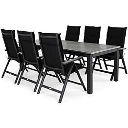Ruokailuryhmä Monaco 220-280 6 Monaco Light tuolia + mustat pehmusteet musta