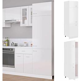 Kaappi jääkaapille korkeakiilto valkoinen 60x57x207 cm_1