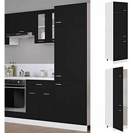 Kaappi jääkaapille musta 60x57x207cm lastulevy_1