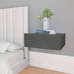 Kelluva yöpöytä korkeakiilto harmaa 40x30x15 cm lastulevy_1