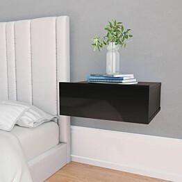 Kelluva yöpöytä korkeakiilto musta 40x30x15 cm lastulevy_1