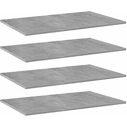 Kirjahyllytasot 4 kpl betoninharmaa 80x50x1,5 cm lastulevy_1