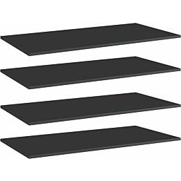 Kirjahyllytasot 4 kpl korkeakiilto musta 100x50x1,5 cm_1
