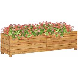 Kukkalaatikko 150x40x38 cm kierrätetty tiikki ja teräs_1