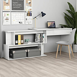 Kulmapöytä korkeakiilto valkoinen 200x50x76 cm lastulevy_1