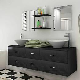 Kylpyhuone huonekalu ja pesuallassarja hanalla 9-osainen_1
