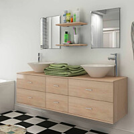 Kylpyhuoneen kaluste- ja allassarja 7 osaa beige_1