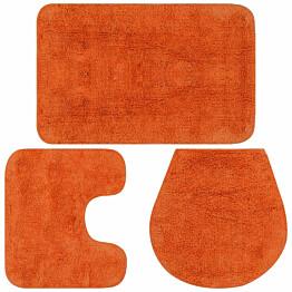 Kylpyhuoneen mattosarja 3 osaa kangas oranssi_1