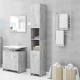 Kylpyhuonekaappi betoninharmaa 30x30x183,5 cm lastulevy_1