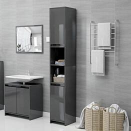 Kylpyhuonekaappi korkeakiilto harmaa 30x30x183,5 cm lastulevy_1