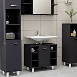Kylpyhuonekaappi korkeakiilto harmaa 60x32x53,5 cm lastulevy_1