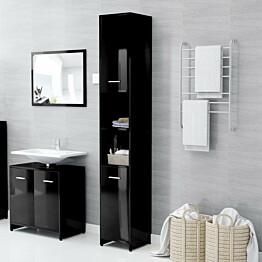 Kylpyhuonekaappi korkeakiilto musta 30x30x183,5 cm lastulevy_1
