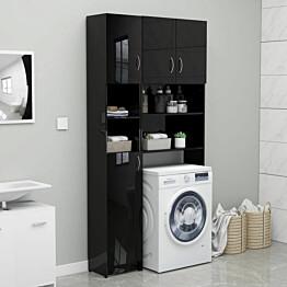 Kylpyhuonekaappi korkeakiilto musta 32x25,5x190 cm lastulevy_1