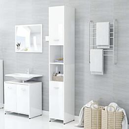 Kylpyhuonekaappi korkeakiilto valkoinen 30x30x183,5 cm_1