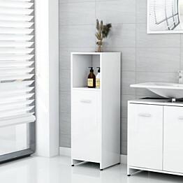 Kylpyhuonekaappi korkeakiilto valkoinen 30x30x95cm lastulevy_1