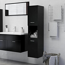 Kylpyhuonekaappi musta 30x30x130 cm lastulevy_1