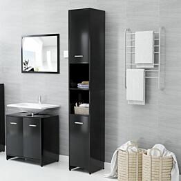 Kylpyhuonekaappi musta 30x30x183,5 cm lastulevy_1