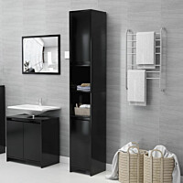 Kylpyhuonekaappi musta 30x30x183,5cm lastulevy_1
