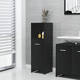 Kylpyhuonekaappi musta 30x30x95 cm lastulevy_1