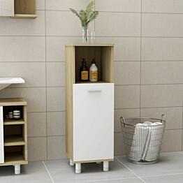 Kylpyhuonekaappi valkoinen ja sonoma-tammi 30x30x95 cm_1