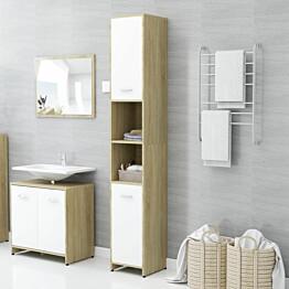 Kylpyhuonekaappi valkoinen/sonoma-tammi 30x30x183,5cm_1