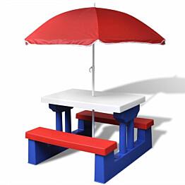 Lasten piknikpöytä penkeillä ja aurinkovarjolla monivärinen_1