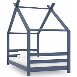 Lasten sängynrunko harmaa täysi mänty 80x160 cm_1