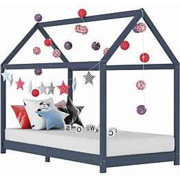 Lasten sängynrunko harmaa täysi mänty 80x160cm_1