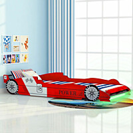 Lastensänky led-valolla kilpa-auto 90x200 cm punainen_1