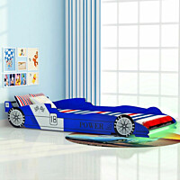 Lastensänky led-valolla kilpa-auto 90x200 cm sininen_1